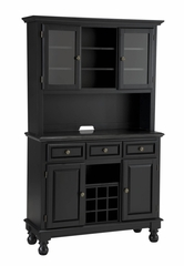 Buffet with Black Granite Top and Two Door Hutch in Black - Home Styles - 5300-0044-04