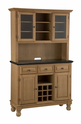 Buffet with Black Granite Top and Two Door Hutch in Maple - Home Styles - 5300-0094-09