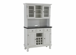 Buffet with Black Granite Top and Two Door Hutch in White - Home Styles - 5300-0024-02