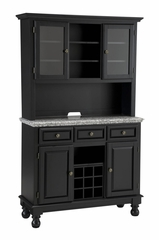 Buffet with Gray Granite Top and Two Door Hutch in Black - Home Styles - 5300-0043-04