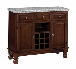 Buffet with Gray Granite Top and Two Door Hutch in Cherry - Home Styles - 5300-0073-07