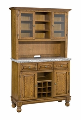 Buffet with Gray Granite Top and Two Door Hutch in Oak - Home Styles - 5300-0063-06