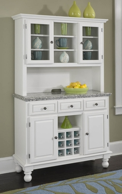 Buffet with Gray Granite Top and Two Door Hutch in White - Home Styles - 5300-0023-02
