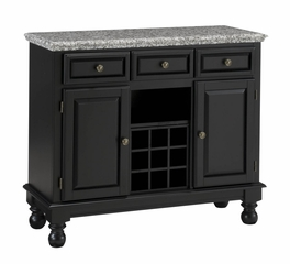 Buffet with Gray Granite Top in Black - Home Styles - 5300-0043