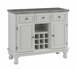 Buffet with Gray Granite Top in White - Home Styles - 5300-0023