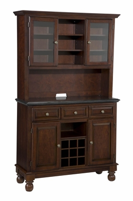 Buffet with Salmon Granite Top and Two Door Hutch in Cherry - Home Styles - 5300-0075-07