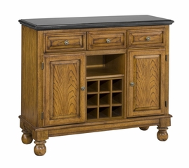 Buffet with Salmon Granite Top and Two Door Hutch in Oak - Home Styles - 5300-0065-06