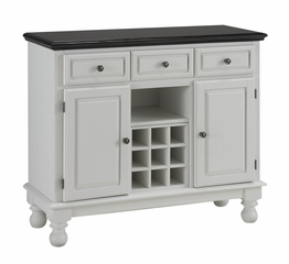 Buffet with Salmon Granite Top and Two Door Hutch in White - Home Styles - 5300-0025-02