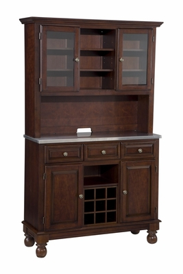 Buffet with Stainless Top and Two Door Hutch in Cherry - Home Styles - 5300-0072-07