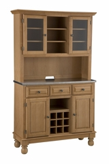 Buffet with Stainless Top and Two Door Hutch in Maple - Home Styles - 5300-0092-09