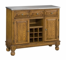 Buffet with Stainless Top and Two Door Hutch in Oak - Home Styles - 5300-0062-06