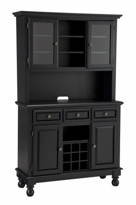Buffet with Wood Top and Two Door Hutch in Black - Home Styles - 5300-0041-04