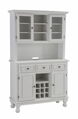 Buffet with Wood Top and Two Door Hutch in White - Home Styles - 5300-0021-02