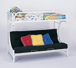 "Bunk Bed - ""C"" Style Twin / Futon Bunk Bed in White - Coaster"