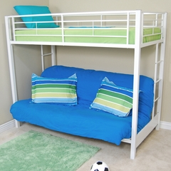 Bunk Bed - Sunrise Twin / Futon Bunk Bed in White - BTOFWH