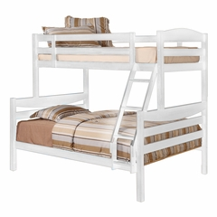 Bunk Bed - Twin / Double Size Bunk Bed in White - BWTODWH