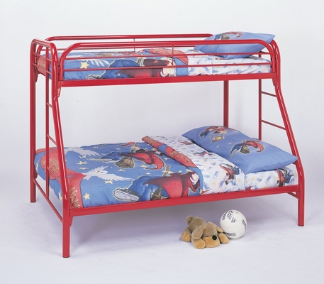 Bunk Bed - Twin / Full Size Bunk Bed in Red - Coaster