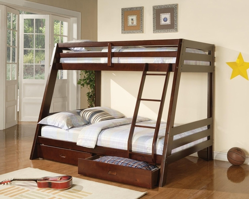 Bunks Twin-Over-Full Bunk Bed in Cappuccino - 460228