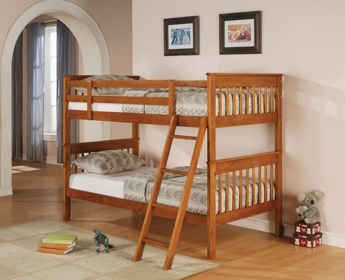 Bunks Twin Over Twin Bunk Bed in Distressed Pine - 460233