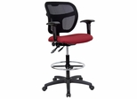 Burgundy Fabric and Mesh Drafting Stool with Arms - WL-A7671SYG-BY-AD-GG