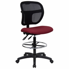Burgundy Fabric and Mesh Drafting Stool - WL-A7671SYG-BY-D-GG