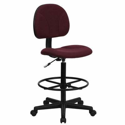 Burgundy Fabric Ergonomic Multi Function Drafting Stool (Seat Adjusts 26