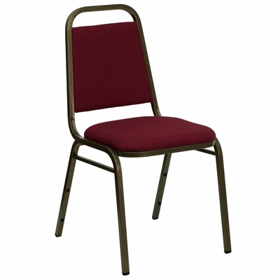 Burgundy Fabric HERCULES Banquet Chair - Gold Vein Frame Finish - FD-BHF-2-BY-GG
