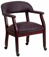 Burgundy Leather Conference Chair - B-Z100-LF19-LEA-GG