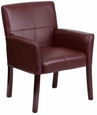 Burgundy Leather Executive Side Chair or Reception Chair - BT-353-BURG-GG