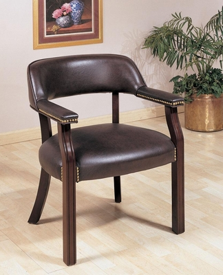 Burgundy Office Guest Chair with Nailhead Trim - 511B