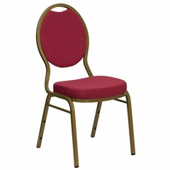 Burgundy Patterned HERCULES Series Teardrop Banquet Chair - Gold Frame Finish - FD-C04-ALLGOLD-2804-GG