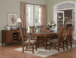Burton 8-Piece Dining Room Furniture Set in Warm Medium Oak - Coaster - 101611-5-DSET