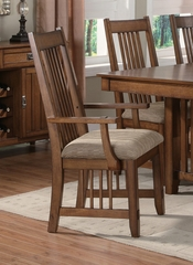 Burton Arm Chair (Set of 2) in Warm Medium Oak - Coaster - 101613-SET