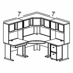 Bush Advantage Hansen Cherry Design 14 - Plan For 7' by 7' Work Station