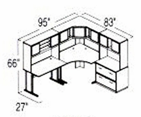 Bush Advantage Hansen Cherry Design 16 - Plan For 8' by 7' Work Station