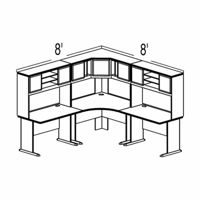 Bush Advantage Hansen Cherry Design 21 - Plan For 8' by 8' Work Station