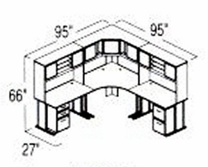 Bush Advantage Hansen Cherry Design 23 - Plan For 8' by 8' Work Station
