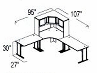Bush Advantage Hansen Cherry Design 25 - Plan For 8' by 9' Work Station