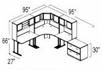 Bush Advantage Hansen Cherry Design 29 - Plan For 8' by 10' Work Station