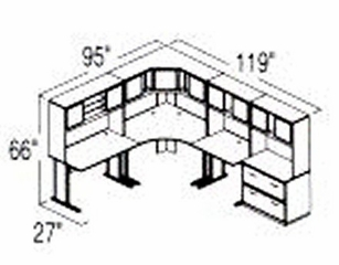Bush Advantage Hansen Cherry Design 30 - Plan For 8' by 10' Work Station
