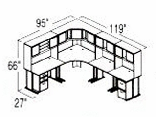 Bush Advantage Hansen Cherry Design 31 - Plan For 8' by 10' Work Station