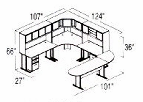 Bush Advantage Hansen Cherry Design 39 - Plan For 9' by 11' Work Station
