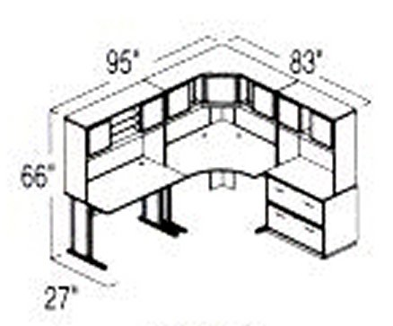 Bush Advantage Light Oak Design 16 - Plan For 8' by 7' Work Station