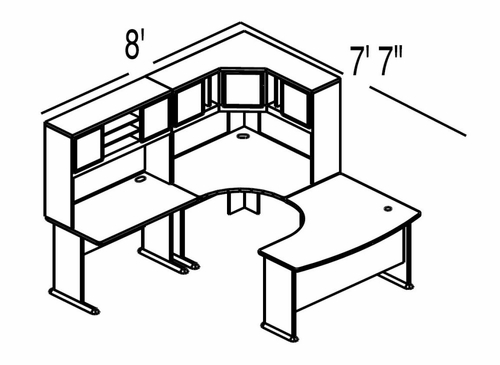 Bush Advantage Light Oak Design 17 - Plan For 8' by 8' Work Station
