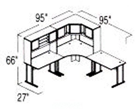 Bush Advantage Light Oak Design 20 - Plan For 8' by 8' Work Station