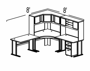 Bush Advantage Light Oak Design 24 - Plan For 8' by 8' Work Station