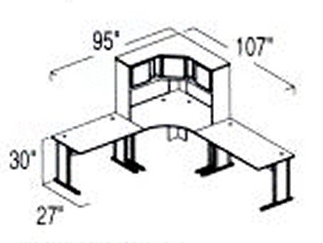 Bush Advantage Light Oak Design 25 - Plan For 8' by 9' Work Station
