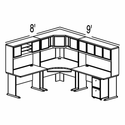 Bush Advantage Light Oak Design 28 - Plan For 8' by 9' Work Station