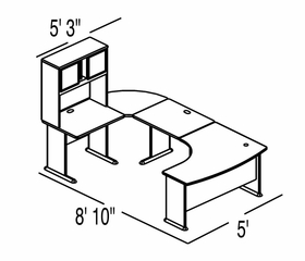 Bush Advantage Light Oak Design 32 - Plan For 9' by 6' Work Station