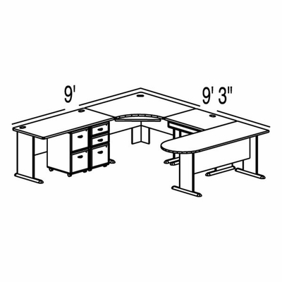 Bush Advantage Light Oak Design 36 - Plan For 9' by 10' Work Station